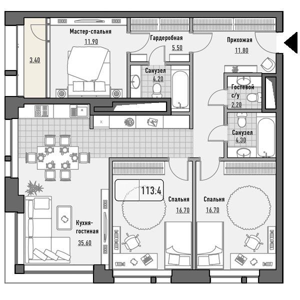 План 3-комн. 113.4 м²