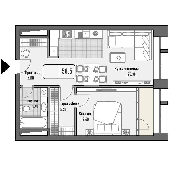План 1-комн. 58.5 м²