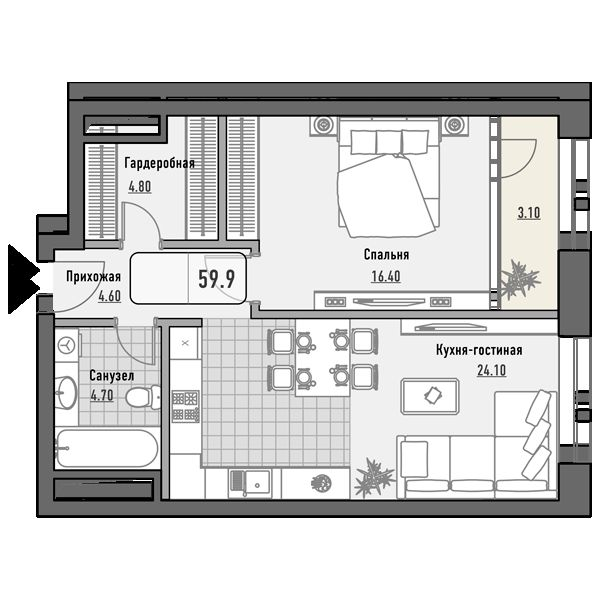 План 1-комн. 59.9 м²