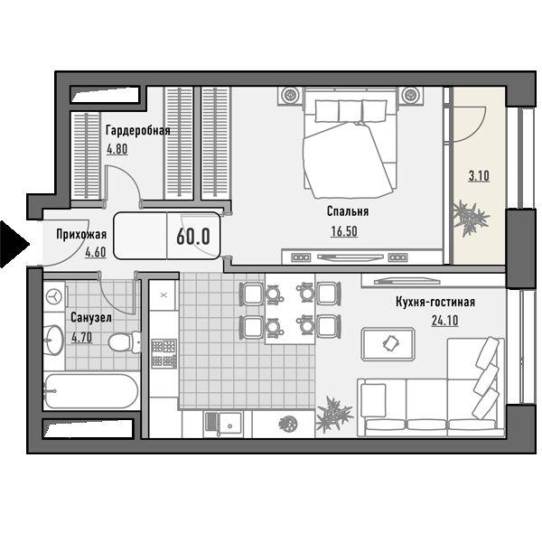 План 1-комн. 60.0 м²