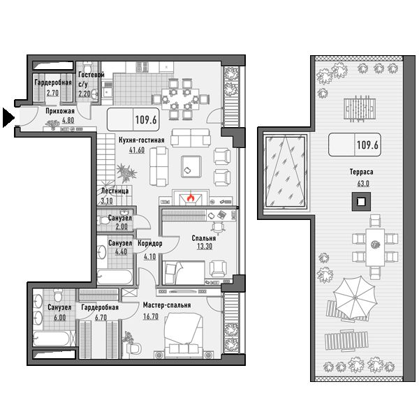 План 2-комн. 109.6 м²