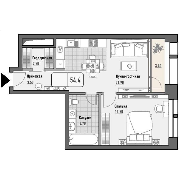 План 1-комн. 54.4 м²