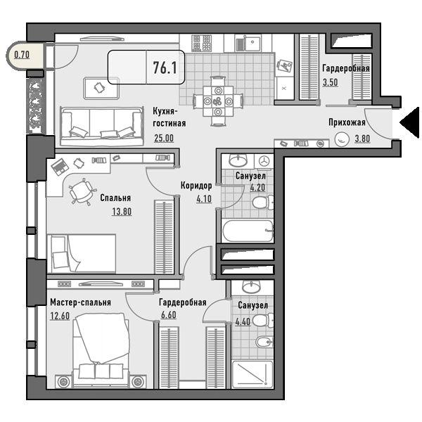 План 2-комн. 76.1 м²