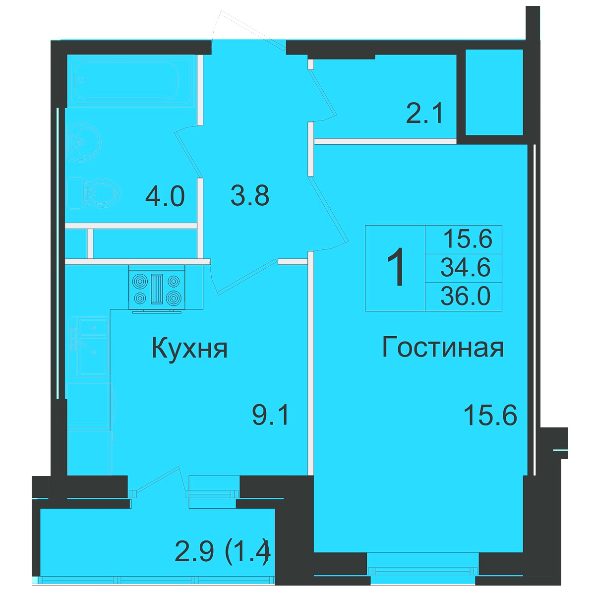 План 1-комн. 36.0 м²